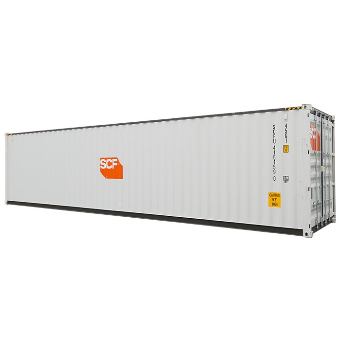 SCF 40ft Shipping Container | Side with Dark Rails