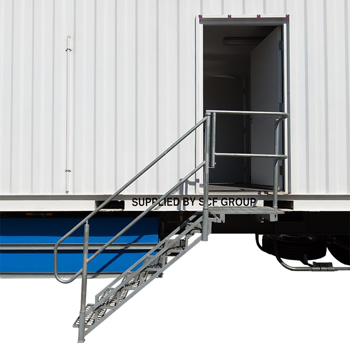 SCF Trailerised Accommodation | External Stairs to PA Door
