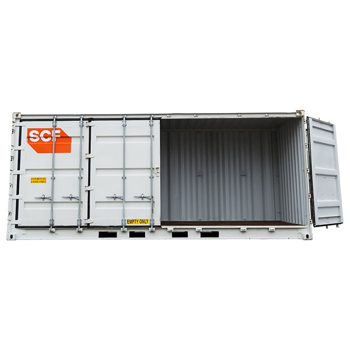 SCF 20ft Single Side Door Shipping Container | Side Doors Half Open
